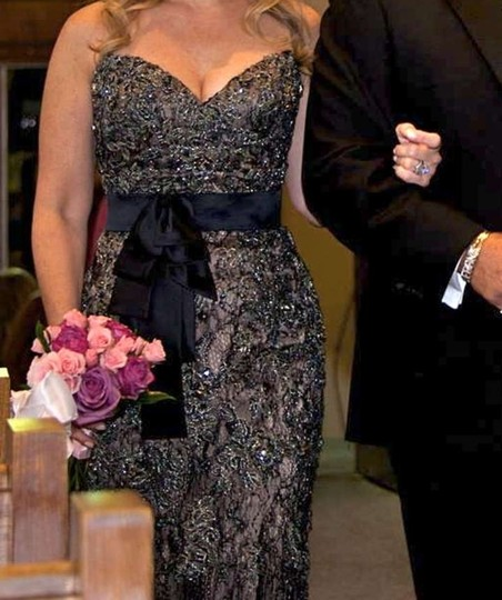 Ysa Makino Bronze/Black All Beaded Lace Designer Gown Formal Bridesmaid/Mob Dress Size 2 (XS)