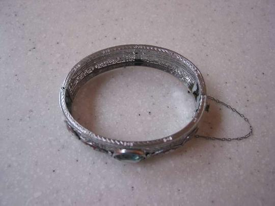 Vintage Art Deco Rhodium plated with enamel bangle