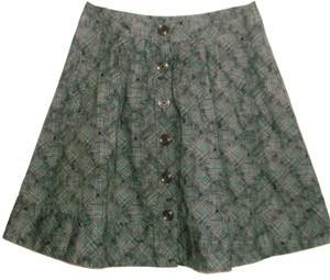 FEI A Line Plaid Gray Teal Skirt Dark gray
