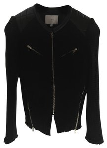 IRO Leather Woven Knit Motorcycle Jacket