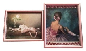 Other Set of 2 BALLERINA Pink Framed Art Print Girl's Room Decor