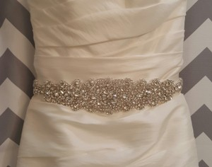 High Quality Crystal Beaded Bridal Sash Ivory