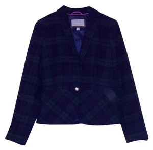 Banana Republic Plaid Navy Blue and Green Blazer