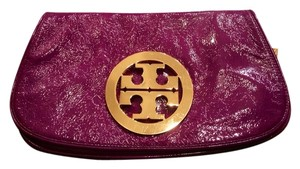 Tory Burch Magenta Leather Monogram Magenta Purple Clutch