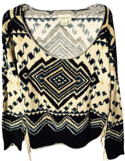 Ralph Lauren Boxy Boho Indian Pattern South Fringe Drop Shouldered Sweater