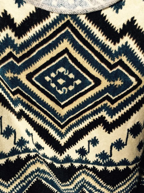 Ralph Lauren Boxy Boho Indian Pattern South Western Fringe Drop Shouldered Sweater