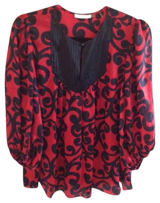 Item - Red & Black Blouse Size 6 (S)