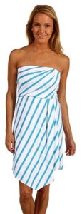 Michael Stars short dress stripped white and turquoise on Tradesy