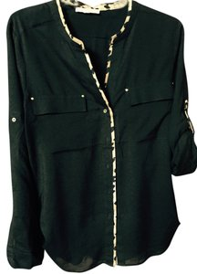 Calvin Klein Collection Gold Buttons Dressy Top Black & Leopard Print