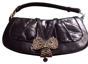 Roberto Cavalli Just Cavalli Leather Baguette Black - 900 Clutch