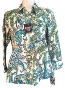 Chaps 100% Cotton Top greens paisley