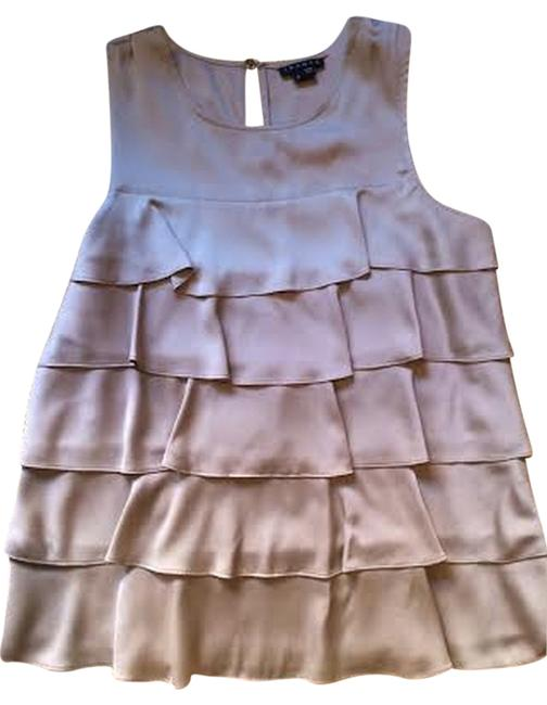 Theory Silk Ruffle Top Beige