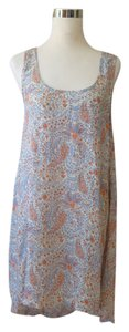 Blue Orange Maxi Dress by Lucca Couture Asymmetrical Hem Floral Criss Cross Back Gold Stud