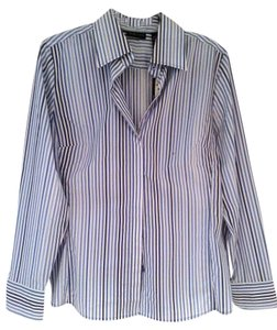 New York & Company Button Down Shirt Blue & White Stripe