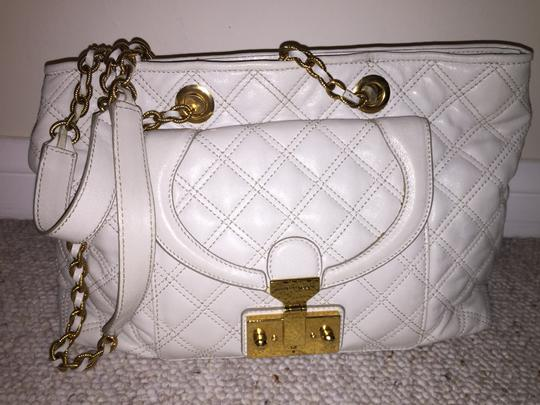 Marc Jacobs Leather Quilted Chain Satchel in Beige
