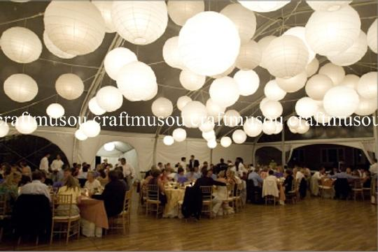 White 80 Lantern with Led Set Ceremony Decorations