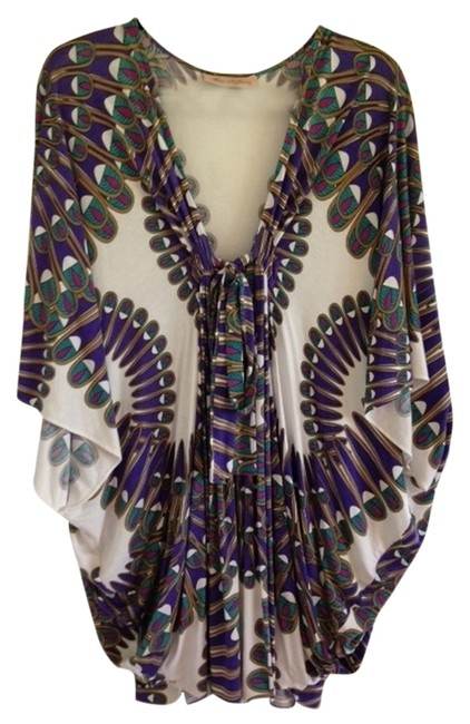 Item - White/Purple/Green Poncho Cover-up/Sarong Size OS (One Size)