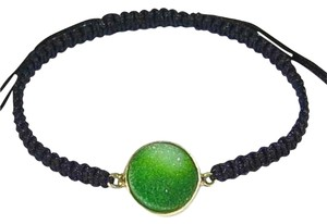 Other Green Quartz Druzy Gold Vermeil Adjustable Macrame Bracelet