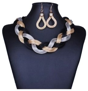TWISTED ROPE NECKLACE & EARRING SET- NEW - FREE SHIPPING!
