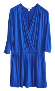 Bar III short dress cobalt blue jersey Wrap Wrap Easy Cinched Dolman Short Faux Wrap on Tradesy