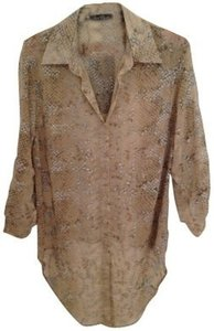 Velvet Heart Button Down Shirt Beige printed