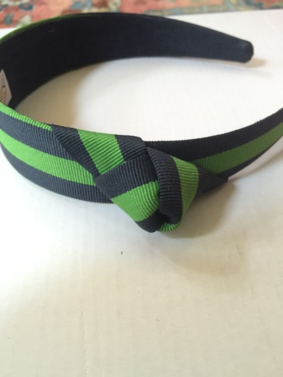 Talbots Green and Navy Striped Headband with Knot Detail