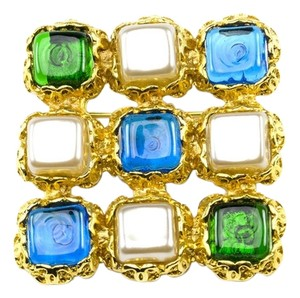 Chanel Chanel Vintage Square Gripoix Brooch