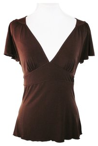 Speechless Career Choco Cap Sleeve Empire Waist Wardrobe Essential Top Brown