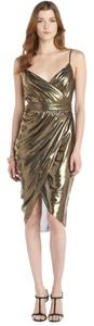 Rachel Zoe Tulip Wrap Metallic Shiny Dress