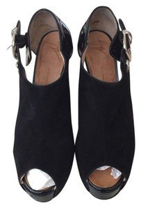 Giuseppe Zanotti Vintage Designer Suede Patent Leather Black Wedges