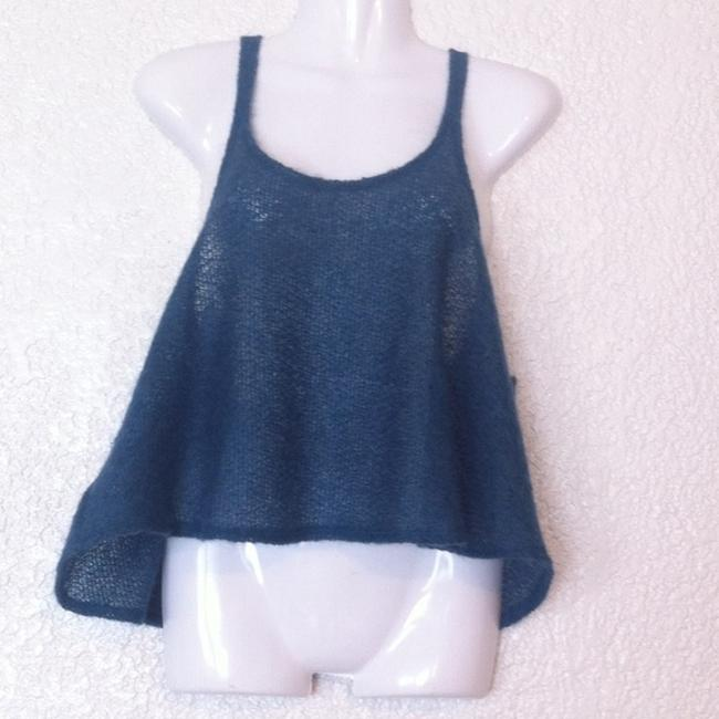 Urban Outfitters Renewal Curatorial Knit Cropped Sweater Top Blue Image 1