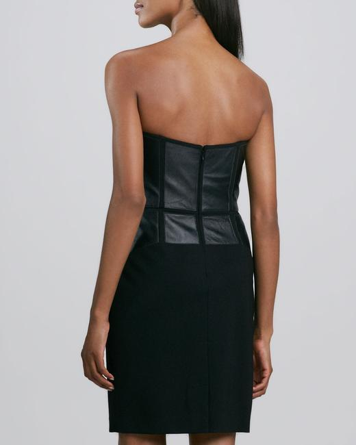 Aidan Mattox Strapless Leather Dress