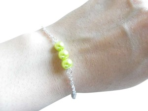 green yellow glass pearl chain bracelet