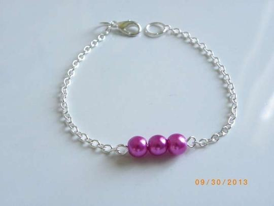 Other purple rose glass pearl bracelet