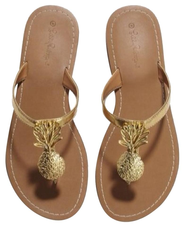 2834f45d8c1bb Lilly Pulitzer for Target Gold and Brown Pineapple Flip-flop Sandals ...