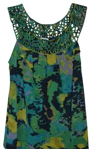 Odille Anthro Anthropologie Day-to-night Pattern Top Green Blue Navy