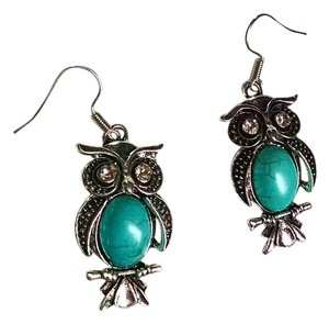 New Turquoise Owl Dangle Earrings Large Silver J914