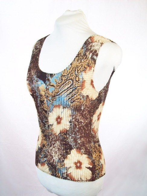 Other Career Floral Print Sleeveless Blouse Scoop Neck Top Brown