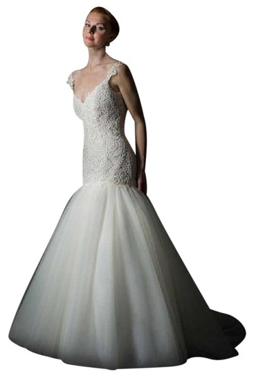 Judd Waddell White Lace & Tulle Jolie Formal Wedding Dress Size 12 (L)
