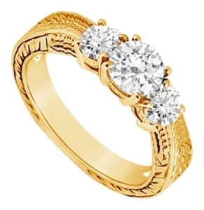 LoveBrightJewelry Three Stone Cubic Zirconia Ring 14K Yellow Gold 0.50 CT Cubic Zirconia