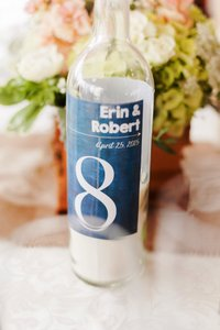 Clear Wine Bottle Table Numbers with Chalkboard Labels Votive/Candle