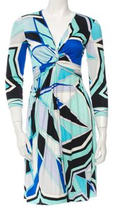 Emilio Pucci White Black Print Multicolor Silk Longsleeve Dress