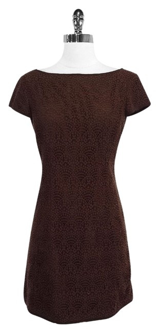 Preload https://item1.tradesy.com/images/nanette-lepore-brown-lace-shift-mid-length-short-casual-dress-size-8-m-3648010-0-0.jpg?width=400&height=650