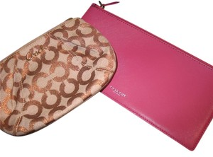 Coach Lot of 2 Coach Cosmetic Bags. Metallic logo on canvas and Magenta leather.