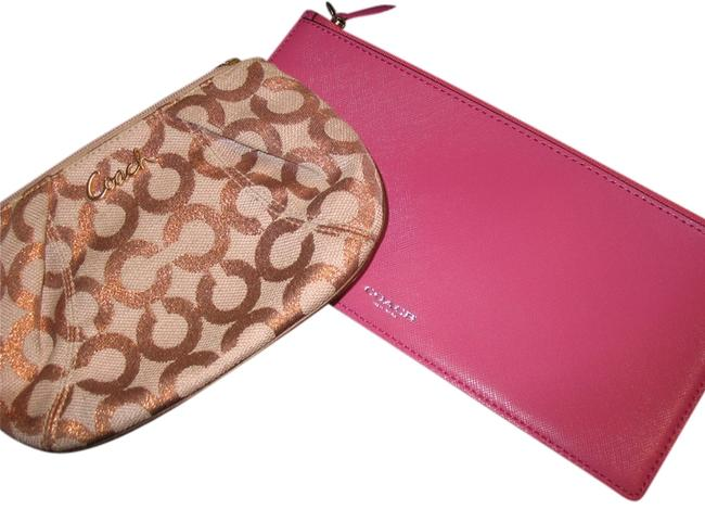 Item - Gold Beige Pink Lot Of 2 Metallic Logo On Canvas and Magenta Leather. Cosmetic Bag