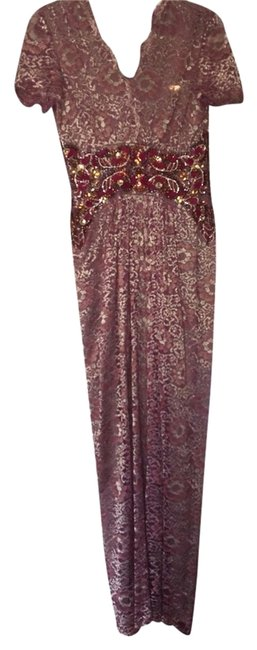 Item - Purple and Gold Long Formal Dress Size 6 (S)