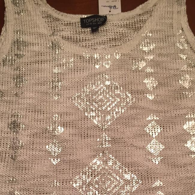 Topshop Top White And silver
