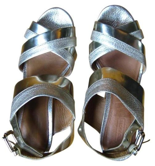 Coach Sandal Leather Gold, Silver Wedges