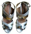 Coach Sandal Leather Gold, Silver Wedges Image 1