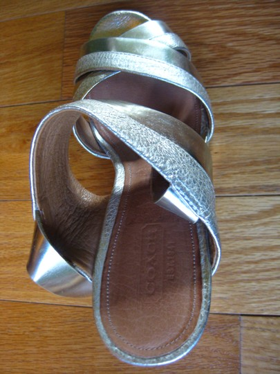 Coach Sandal Leather Gold, Silver Wedges Image 2